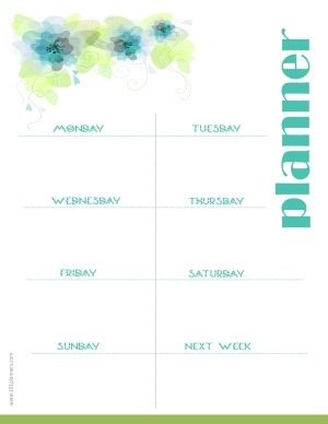 planner printable to plan your week with a white background and a floral pattern