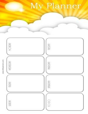 weekly calendar to plan your week with a white background and a cute picture of the sunset