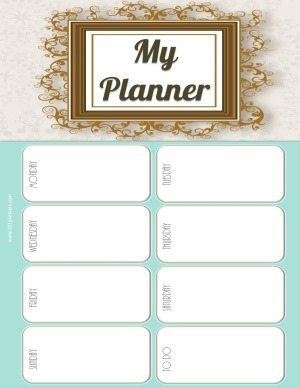 planner printable with an elaborate gold border and a turquoise background