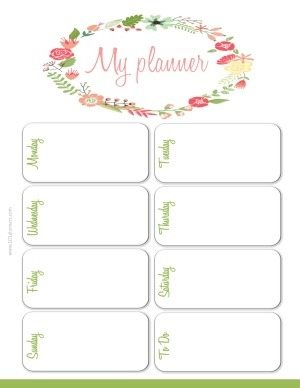 weekly planner template with a wreath of flowers and leaves