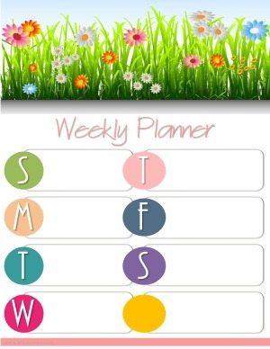 weekly planner with grass and colorful flowers and space to plan your week