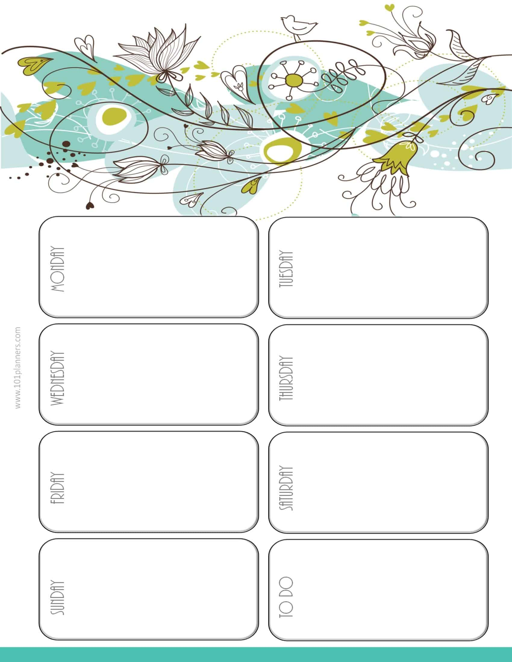 calendar weekly printable with space to plan your week with a white ...