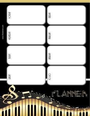weekly calendar planner in black and gold with a music theme
