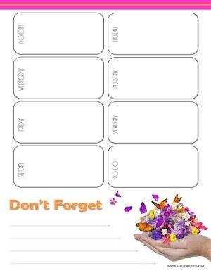 "printable weekly calendar with a white background and a handful of butterflies. There is a to do list at the bottom of the page with a title ""don't forget"""