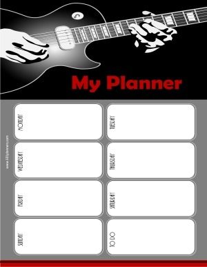 weekly planner printable with a music theme and a picture of a guitar in white, grey, red and black