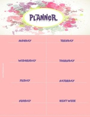 weekly planner template with a pink background and pastel colors splashed around the title