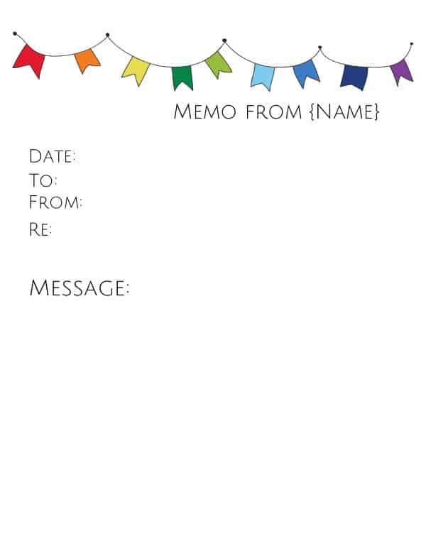 memo template with colored flags