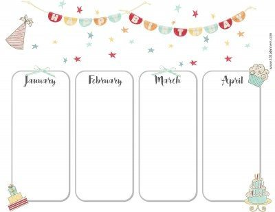 Birthday calendar for January, February, March and April
