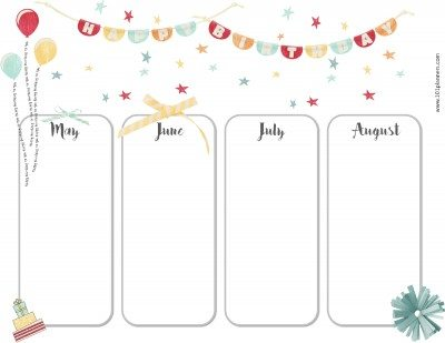 Birthday calendar for May, June, July and August