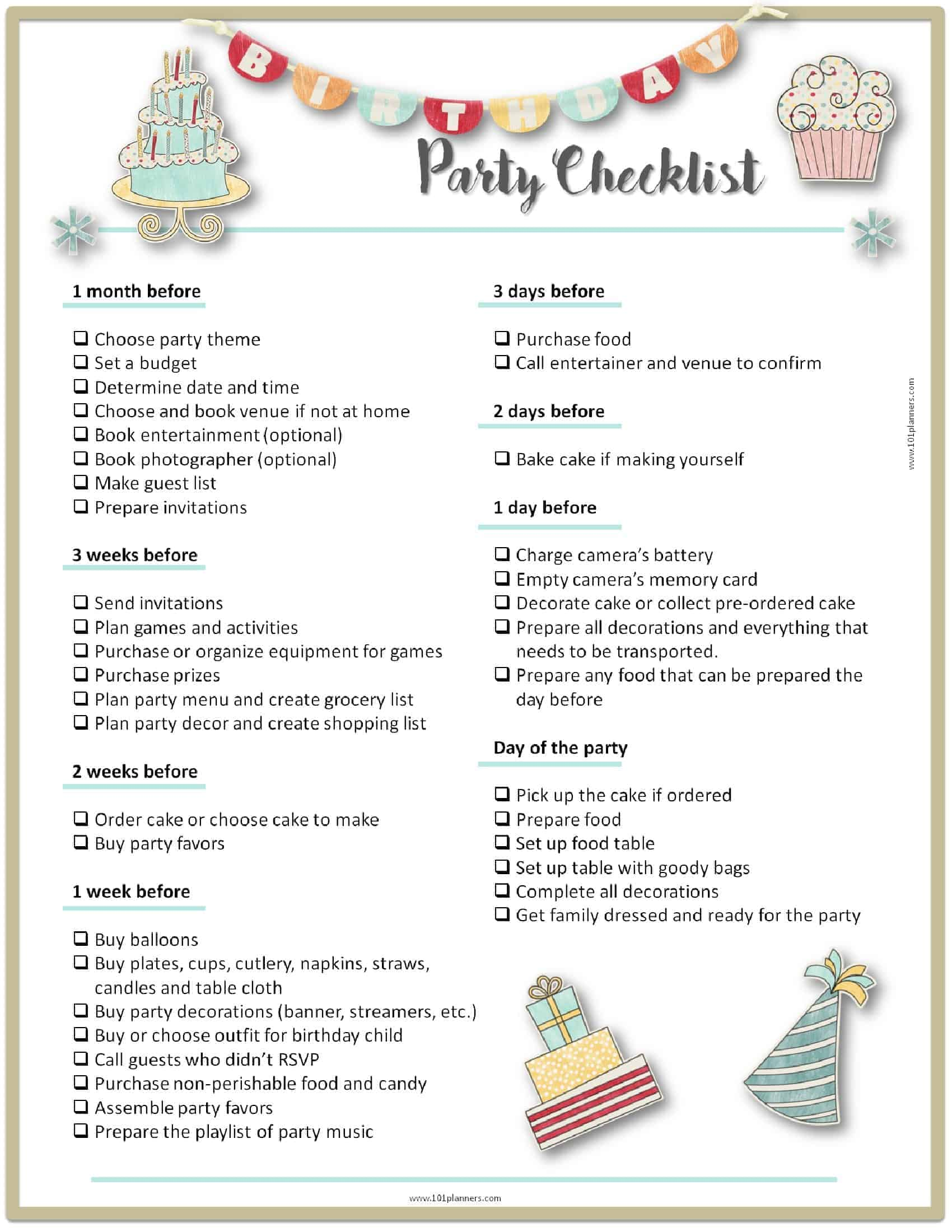This party planner checklist is a little more colorful than the rest.