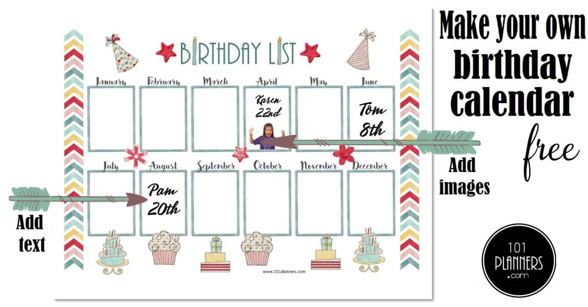 graphic regarding Birthday List Printable titled Totally free Birthday Calendar Printable Customizable A lot of