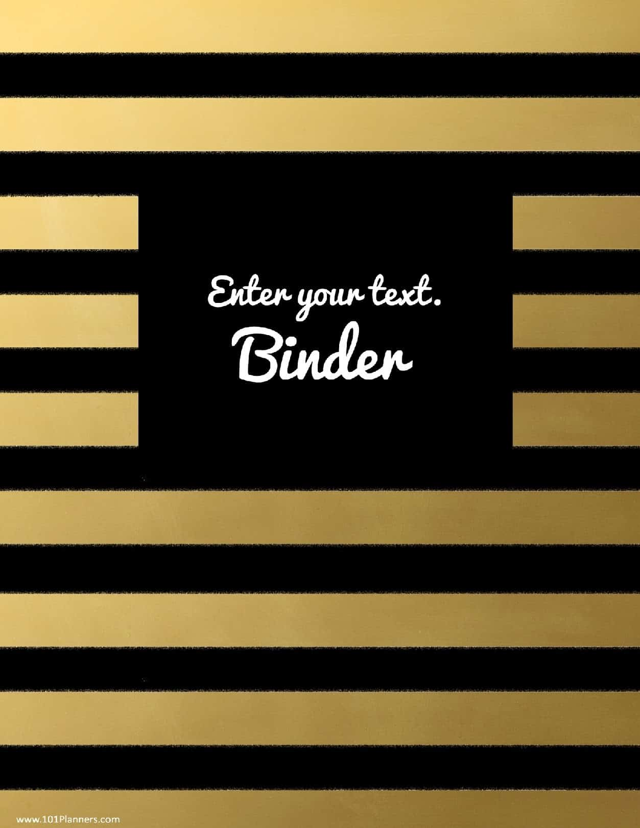 binder cover templates black and gold stripes