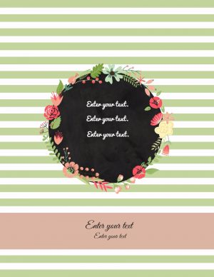 pretty binder cover with green stripes and pretty flowers