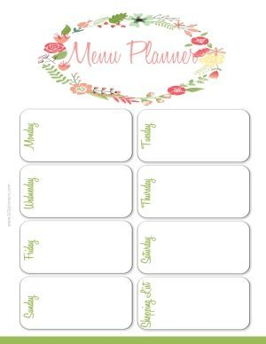 weekly menu planner with a white background and a floral wreath around the title