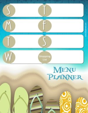 menu planner with a beach theme with colored sandals arranged along the beach