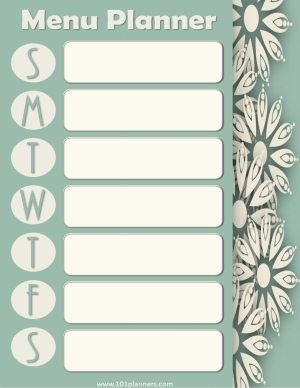 floral pattern along right side of menu planner