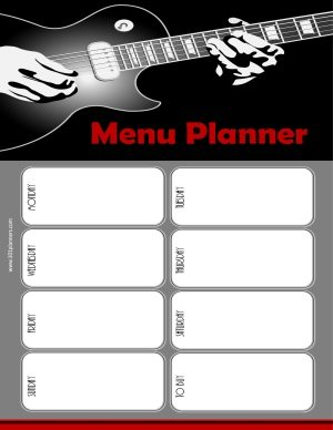 menu planner in black and grey with a picture of a guitar
