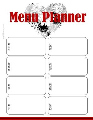 "white background with a black heart and red title that reads ""menu planner"""