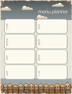 menu planner with grey sky and clouds in the sky and a line of houses at the bottom of the page