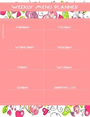 pink printable menu planner with a pink floral pattern
