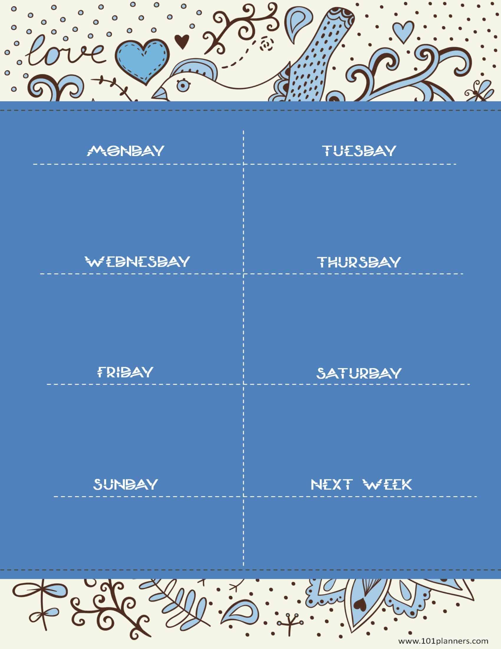 Calendar Planner Generator : Weekly calendar maker create free custom calendars