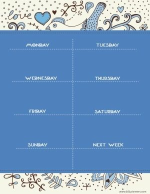 week planner template with blue background