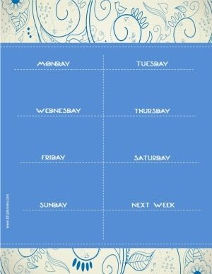 week calendar with a blue background and a floral pattern