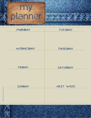 weekly planner printable with jeans background