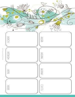 calendar weekly printable with space to plan your week with a white background and a floral design in grey, blue and gren