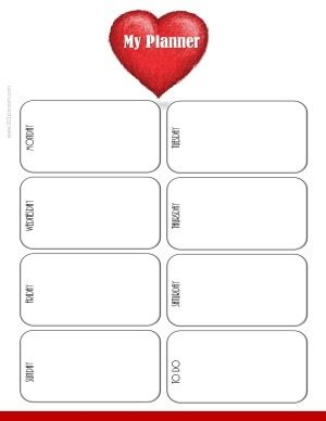 Printable weekly planner template with a white background and a red heart (simple minimalistic design)