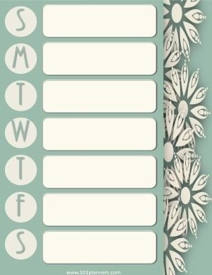 printable weekly calendar with a light green background and white flowers