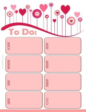 weekly calendar template with pink flowers and balloons