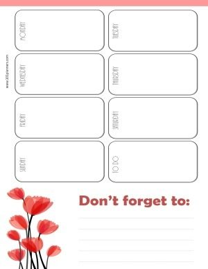 weekly calendar with white background and red tulips in the bottom left corner