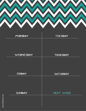 printable weekly calendar with chevron design