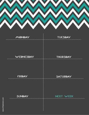 printable weekly calendar with chevron design