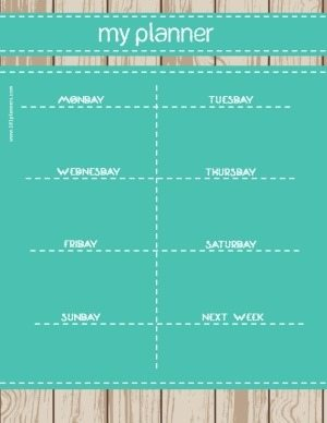 planner printable with a wood background