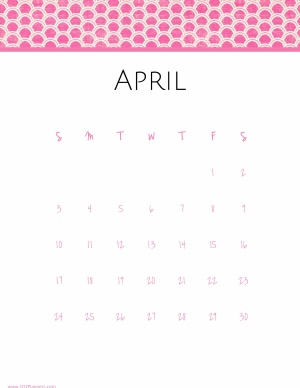april calendar with white background and pink polka dots on the top of the template