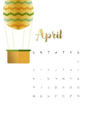 Printable calendar with Easter theme