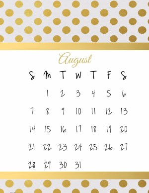 calendar template with white background and gold polka dots