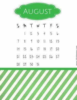 Calendar template with a green pattern