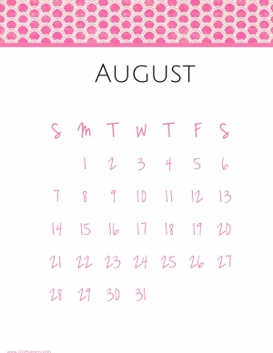 Monthly calendar for the month of August