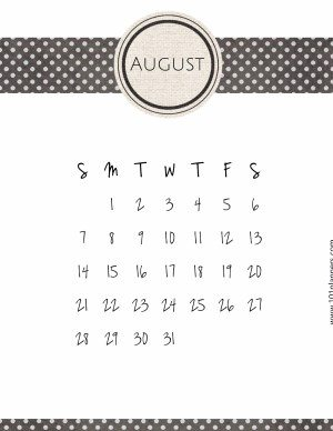 white calendar template with black polka dot ribbon on top and bottom.