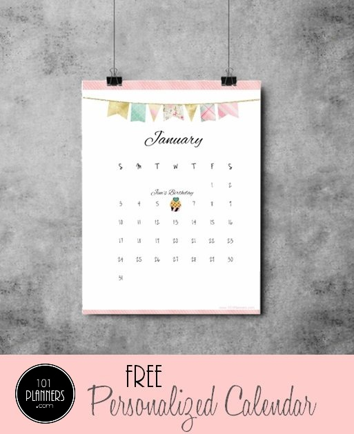calendar template that was personalized and then printed and then hung on the wall