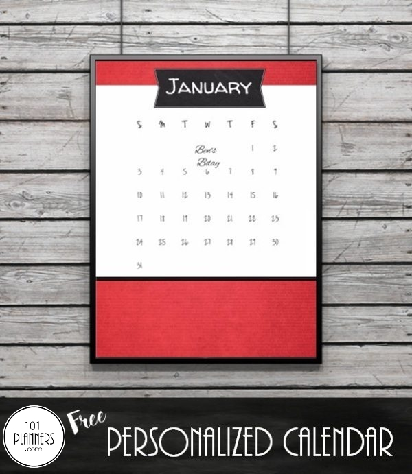 Free calendar printable hanging on the wall