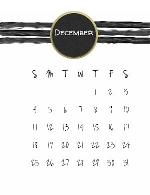 Christmas calendar with black watercolor lines and a black and gold circle