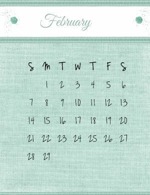 Free printable February calendar template