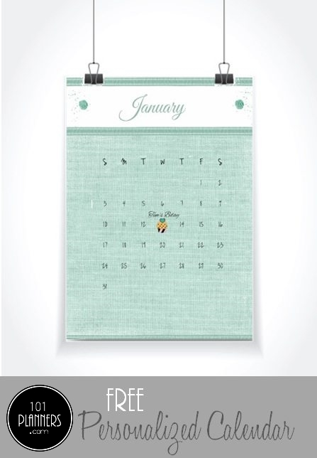Free printable calendar template that was used to create a wall hanging