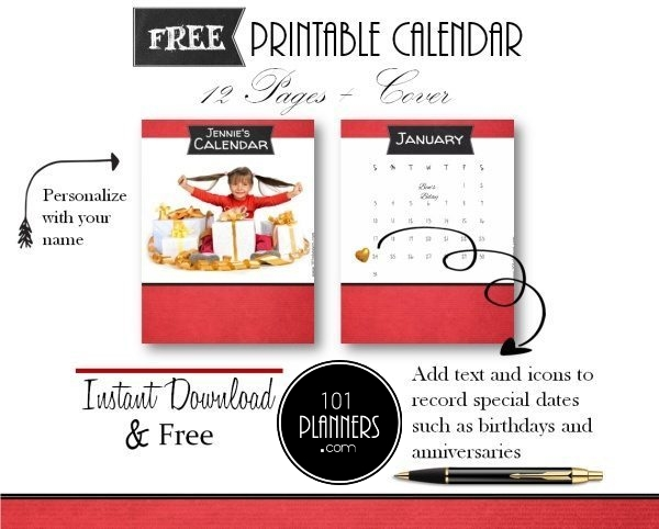 free printable calendars with a red background and a chalkboard label with the month of the year