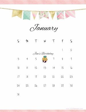 Pretty calendar template with pastel colored flags and a pink stripe at the bottom and top of the template