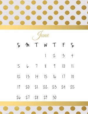 Calendar for the Month of June with Gold Polka Dot Pattern